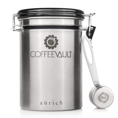 Coffee Canister Coffee Container Airtight - Large Stainless Steel Coffee Storage Vault - Coffee Canister with Scoop - Coffee Bean Container with CO2 Valve to Keep Beans Fresh - 1lb - Zurich